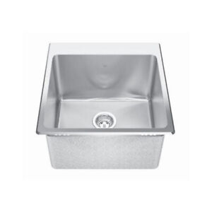 Kindred QSLF2020/12 20 x 20 Single Bowl Dual Mount Sink 3 Holes