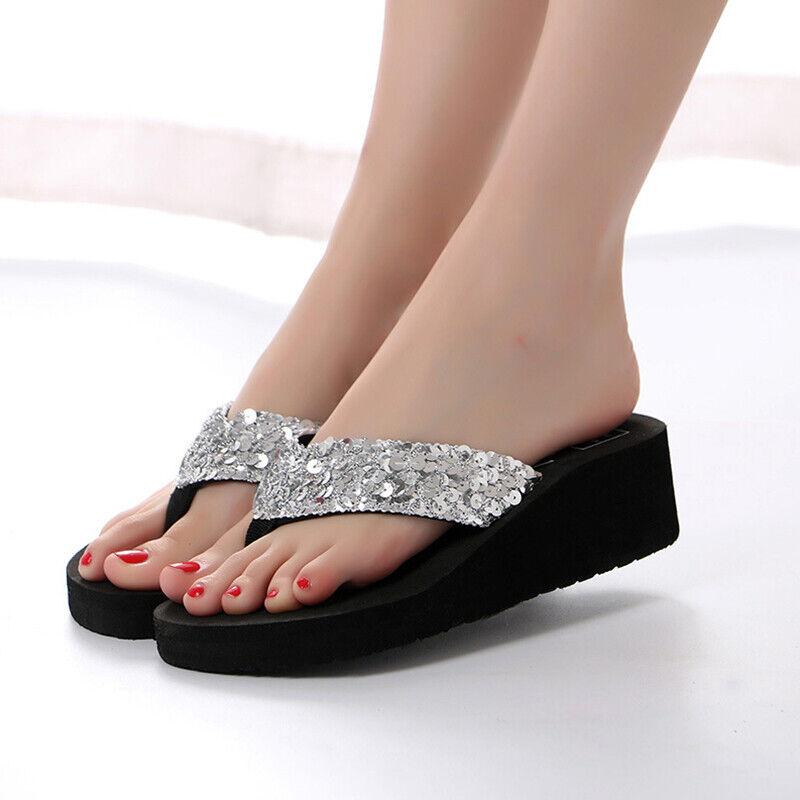 Women Thong Flip Flops EVA Wedge Platform Sandals Summer Bea