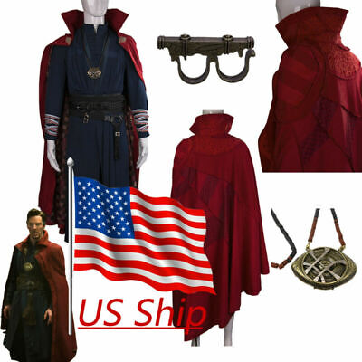 2018 Doctor Strange Costume Red Cloak Necklace Ring Cosplay Dr Strange Full Set - Dr Strange Costume