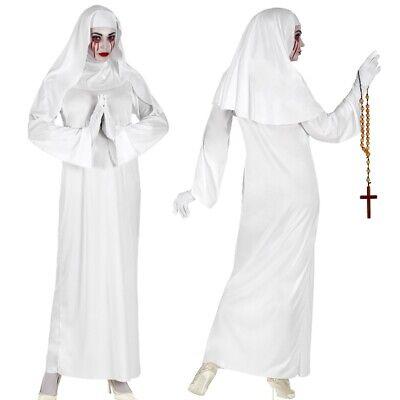 t Haube Damen Kostüm - Halloween Weiße Horror Geister Nonne (Weiße Halloween-kleid)