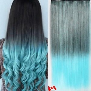 "Clip in hair extension,Straight hair,60 cm, 24"",LIGHT BLUE"