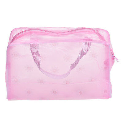 Pink Pouch - Portable Makeup Cosmetic Organizer Travel Wash Toothbrush Pouch Bag Pink