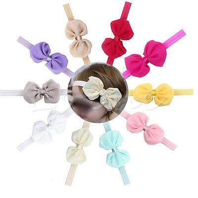 10Pcs Cute Girl Kids Baby Chiffon Toddler Flower Bow Headband Hair Band Headwear