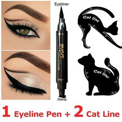 2x Cat Eye Eyeliner Eyeshadow Stencil Card+1xBlack Winged Liquid Eyeliner Pen
