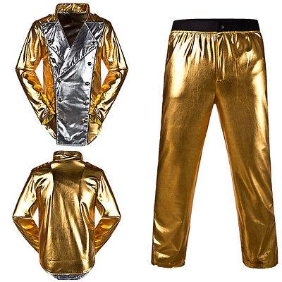 Mens Michael Jackson World Tour History Golden Outfit Jacket Pants MJ Costumes