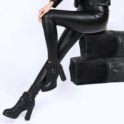 Damen Thermo Hose Legging Wet Look Lack Leder Optik Schwarz Stretch Treggings