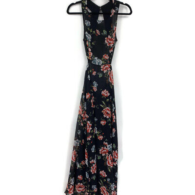 Zara dress XS maxi floral open back sleeveless flowy causal NEW READ