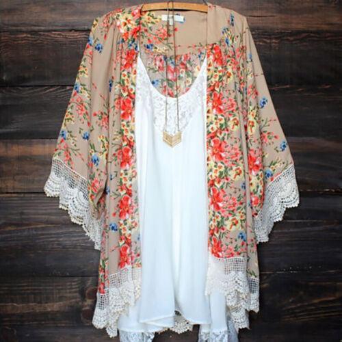 Women Vintage Floral Loose Shawl Kimono Cardigan Boho Chiffo