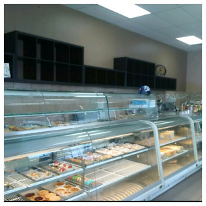 Curved glass deli and pastry display coolers