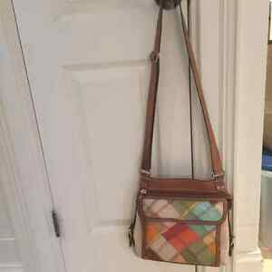 FOSSIL Leather patchwork Crossbody purse