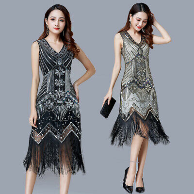 1920s Costume Party ( 1920's Gatsby Party Gowns Sequin Fringe Flapper Dress Costume V-Neck)