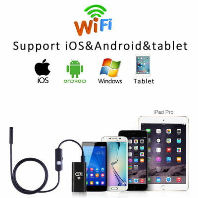 Wifi 6led 8mm Ip67 Android Ios Endoscope Borescope Snake Inspection Camera Scope