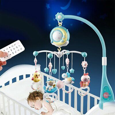 Mini Baby Musical Crib Toy W/ Projection Night Light Hanging Rotating Teether US