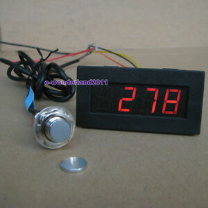 Red 4 Digital LED Tachometer RPM Speed Meter+Hall Proximity Switch Sensor NPN
