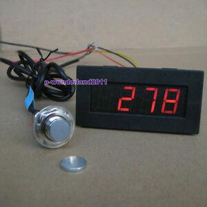 Red 4 Digital LED Tachometer RPM Speed Meter+Hall Proximity Switch Sensor NPN