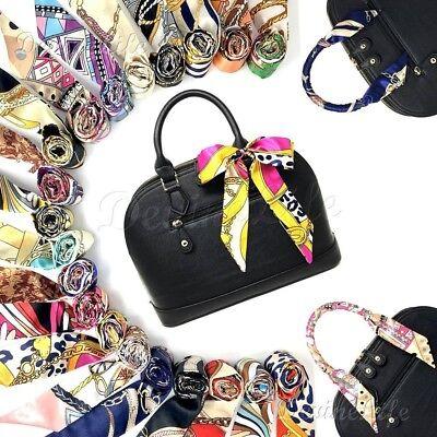 2 pc Silk Twilly Scarf, Twill Handbag Handle Wrap, Purse Neck Hair Ribbon Scarf