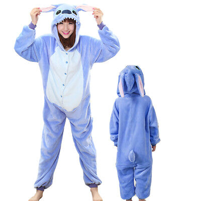 Blue stich Adult kid unisex unicorn pajamas cosplay animal sleepwear clothing