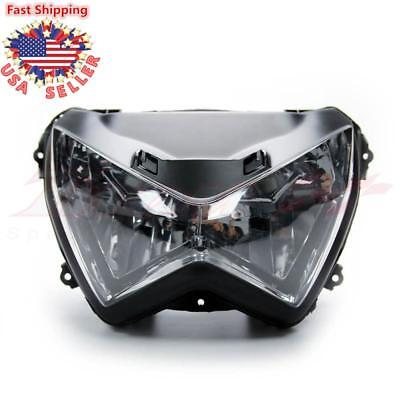 Clear Front Headlight Head Light Lamp Assembly For Kawasaki Z800 Z250 Z300 13-16