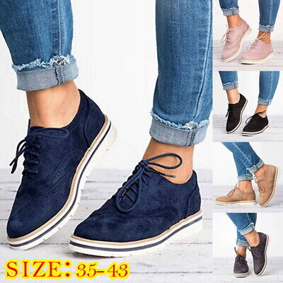 Womens Lace Up Brogues Flat Pumps Ladies Casual Work Smart Loafers Shoes Size T9