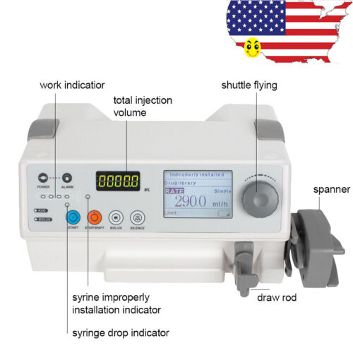 Injection Infusion Syringe Pump Injector Audible Visual Alarm Fluid Warm NEW