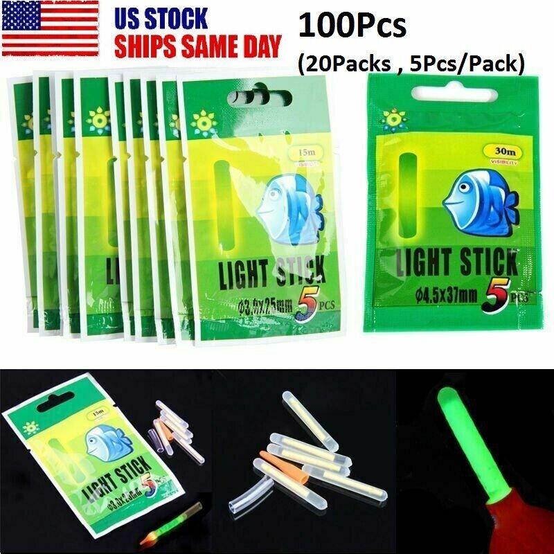 100x Fishing Float Glowing Sticks Night Green Clip On Dark Fluorescent Lights US