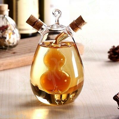 2 Outlet Clear Glass Olive Oil Jar Vinegar Bottle Sauce Cruet Dispenser (Olive Oil Vinegar Cruet)