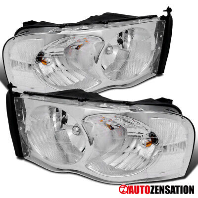 02-05 Dodge Ram Pickup Clear Chrome Crystal Headlights Right+Left