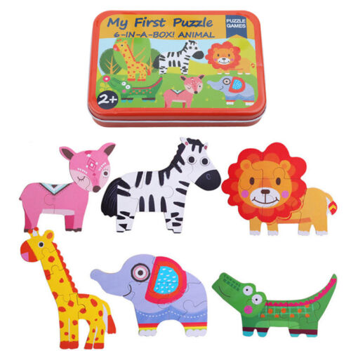 6 IN 1 Wooden 3D Puzzle Jigsaw Wooden Toys For Children Cartoon Animal Puzzle