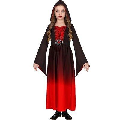 KLEID MIT KAPUZE Mittelalter Mädchen Kinder Kostüm Gothic - Gothic Vampir Kinder Kostüme