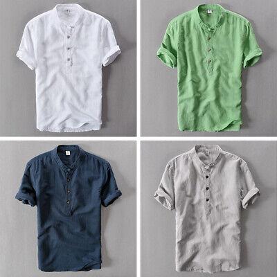 Grandad Neck T-shirt - Men Linen Cotton Short Sleeve T-shirt Henley Neck Grandad Tops Tee Shirt Classic