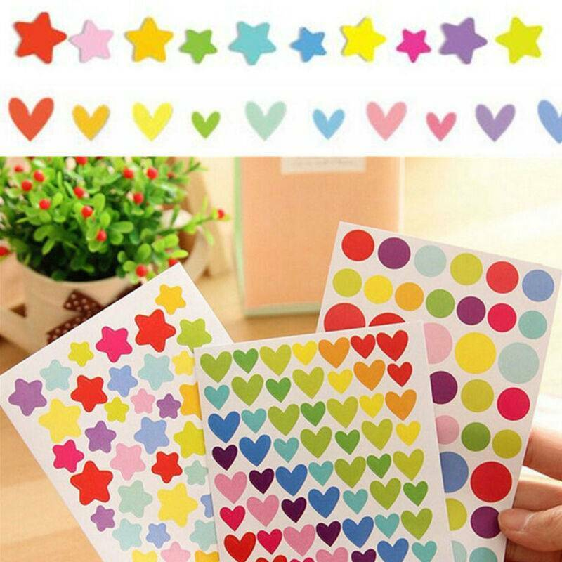 6 Sheets Self-Adhesive Stickers Colorful Love Star Shape For