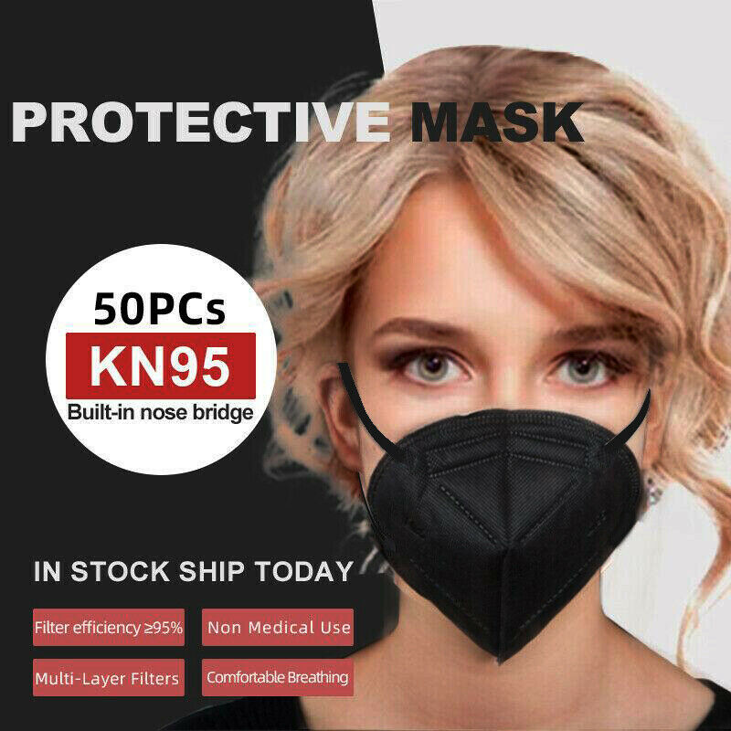 Black 50 Pcs Kn95 Protective 5 Layer Face Mask Black K N95 Disposable Respirator