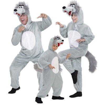 Wolf Plüsch Kostüm für Familien Damen Herren und Kinder Overal - Karneval NEU ()