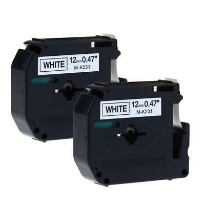 M-k231 Compatibel For Brother P-touch Label Tape 12mm Black On White 2 Pack