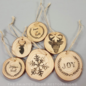 Hand Made Wood Tree Slice Christmas Tree Ornaments