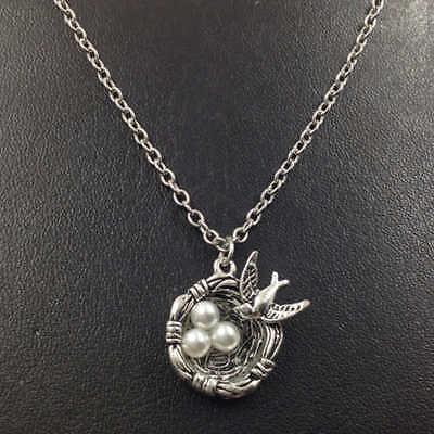 Bird's nest Necklace,Silver handmade necklace,Fashion charm jewelry pendants