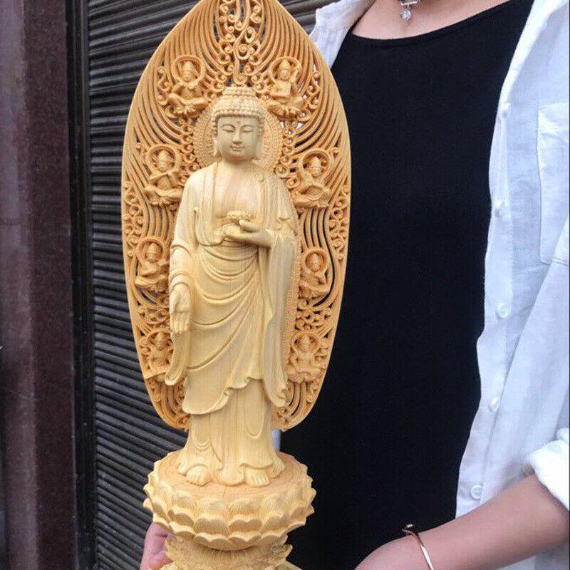 17 Chinese Wood Hand-carving Shakyamuni Amitabha Buddha Sakyamuni Budhism Statue