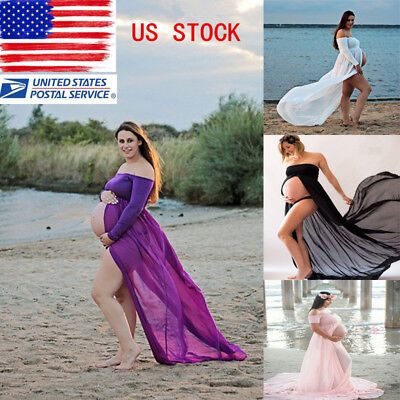 Pregnant Women Front Split Long Maxi Maternity Dress Gown Photo Photography Prop