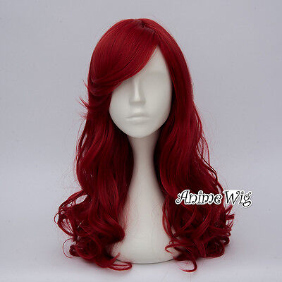 Gothic Lolita 55CM Long Red Curly Women Party - Red Curly Perücken Halloween