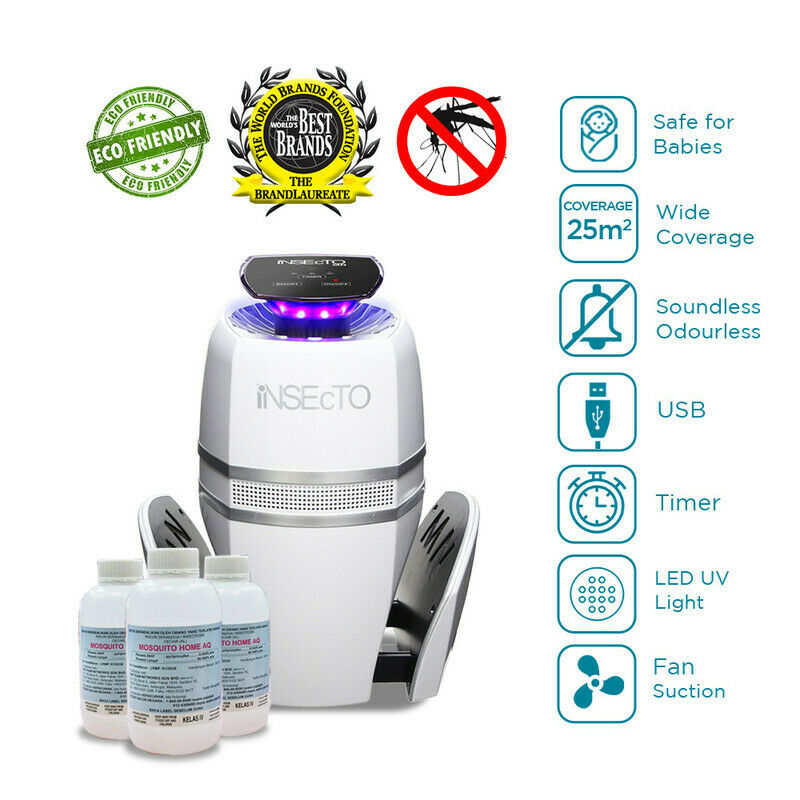 UV Electric Mosquito Fly Bug Insect Indoor Trap + (3) Non-Toxic Aedes Aid Water