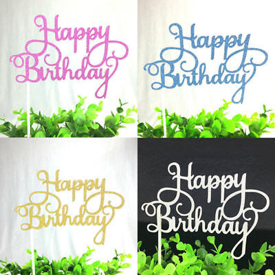 Bling Birthday Decorations (Glitter Happy Birthday Cake Toppers Bling Sparkle Cupecake Topper Party)