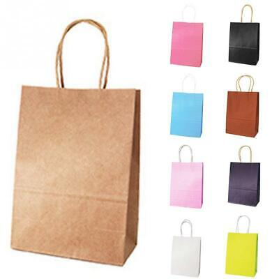 50pcs Recyclable Kraft Paper Party Bags Gift Bag With Handles Shopping Loot Bag