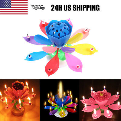 3PCS Birthday Cake Candle Musical Lotus Flower Floral Rotating DIY Decor music