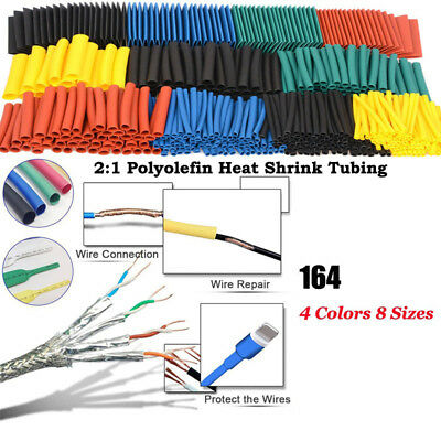 164x 8 Size Assortment 21 Heat Shrink Tubing Tube Sleeving Wrap Wire Cable Kit