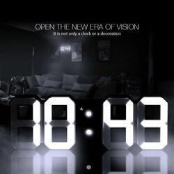 Large 3D LED Digital Alarm Snooze Wall Desk Clock Snooze 12/24 Hour Display USB