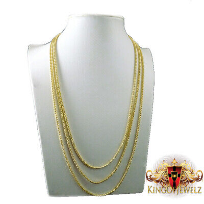"Men Ladies 10k Real Yellow Gold Pop Corn Snake Franco Chain Necklace 3mm 24""-28"""