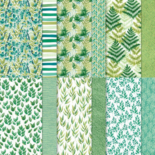Stampin Up FOREVER GREENERY DSP -12 sheets of 6x6 Paper, Leaves, Sprigs, Ferns..