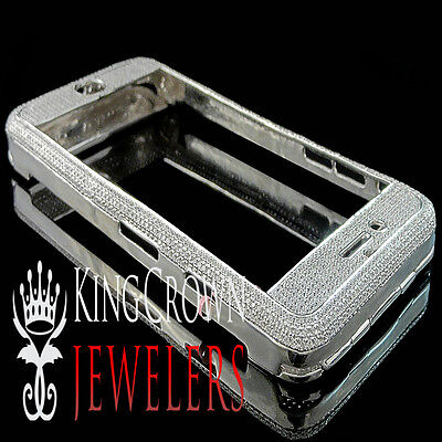 Real 10K White Gold Sterling Silver Simu Diamond Apple iPhone 7 Cover Case 6Ctw