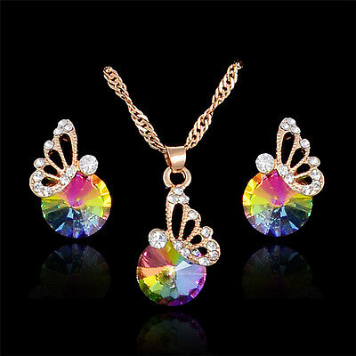 Gold Plated Crystal Rhinestone Butterfly Pendant Necklace/Earrings Jewelry Set ()