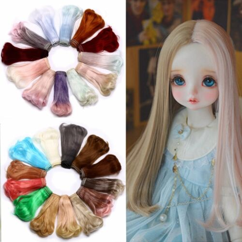 15cm Long Straight Synthetic Fiber Wig Hair Extension for BJD SD Doll Acces NICE